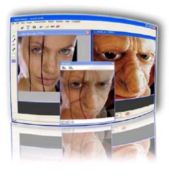 Программа для искажения (морфинга) изображений: http://goalsoft.narod.ru/g1.htm